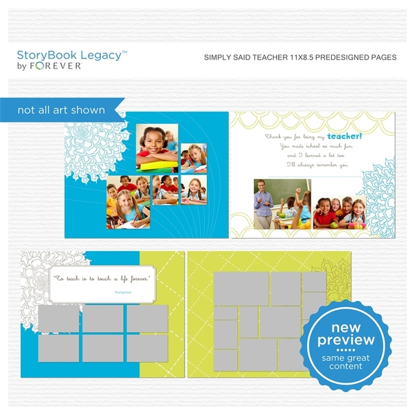 Simply Said Teacher 11x8.5 Predesigned Pages Digital Art - Digital Scrapbooking Kits