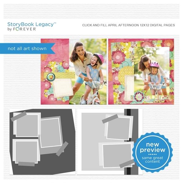 Click And Fill April Afternoon 12x12 Digital Pages Digital Art - Digital Scrapbooking Kits