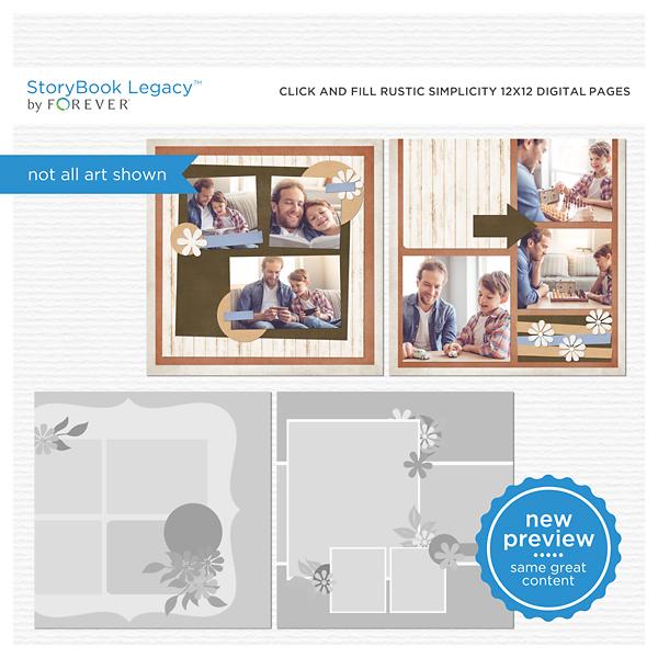 Click And Fill Rustic Simplicity 12x12 Digital Pages Digital Art - Digital Scrapbooking Kits
