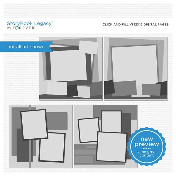 Click And Fill VI 12x12 Digital Pages Digital Art - Digital Scrapbooking Kits