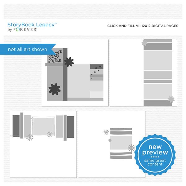 Click And Fill Vii 12x12 Digital Pages Digital Art - Digital Scrapbooking Kits