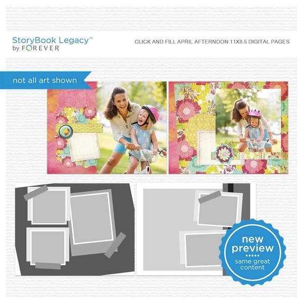 Click And Fill April Afternoon 11x8.5 Digital Pages Digital Art - Digital Scrapbooking Kits