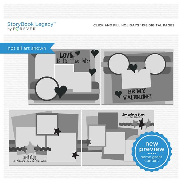 Click And Fill Holidays 11x8.5 Digital Pages Digital Art - Digital Scrapbooking Kits