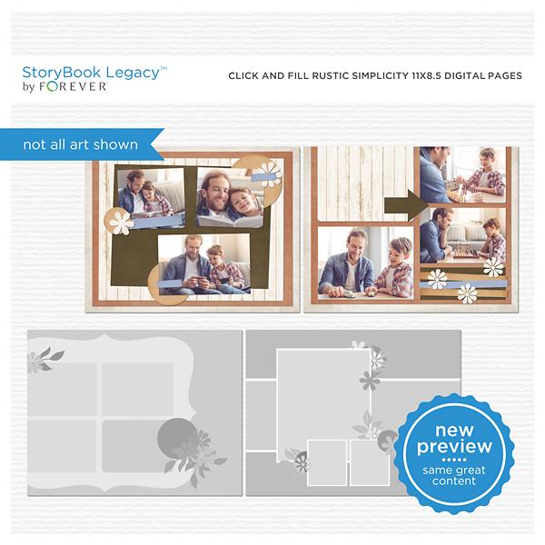 Click And Fill Rustic Simplicity 11x8.5 Digital Pages Digital Art - Digital Scrapbooking Kits