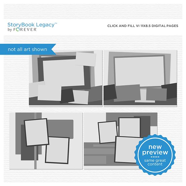 Click And Fill VI 11x8.5 Digital Pages Digital Art - Digital Scrapbooking Kits