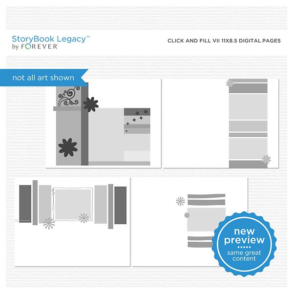 Click And Fill VII 11x8.5 Digital Pages Digital Art - Digital Scrapbooking Kits