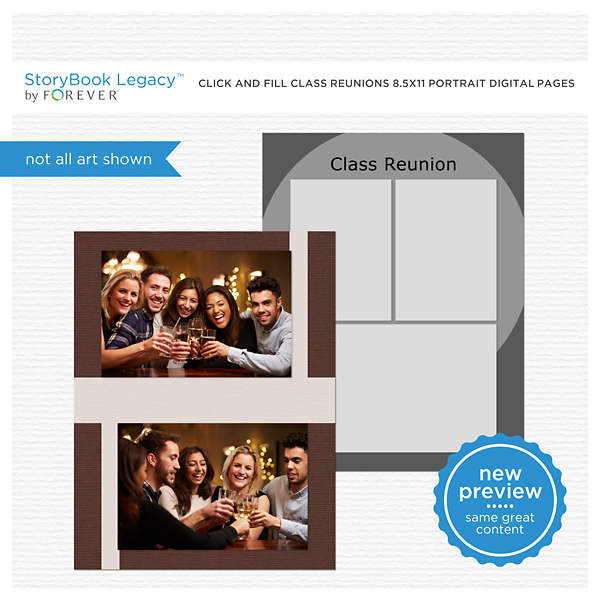Click And Fill Class Reunions 8.5x11 Portrait Digital Pages Digital Art - Digital Scrapbooking Kits