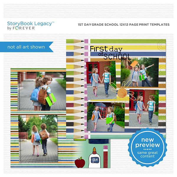 1st Day Grade School 12x12 Page Print Templates Digital Art - Digital Scrapbooking Kits
