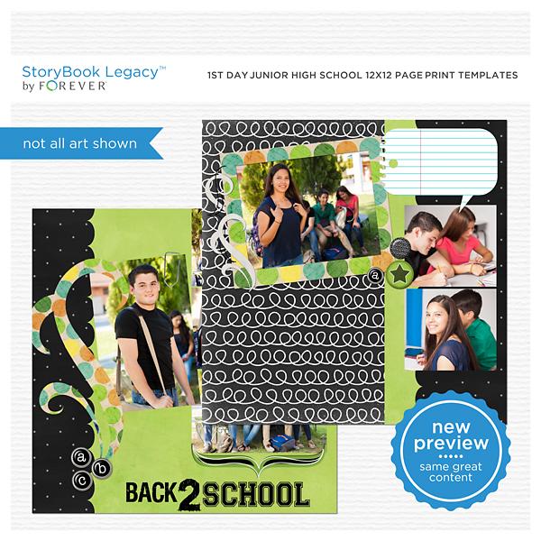 1st Day Jr High School 12x12 Page Print Templates Digital Art - Digital Scrapbooking Kits