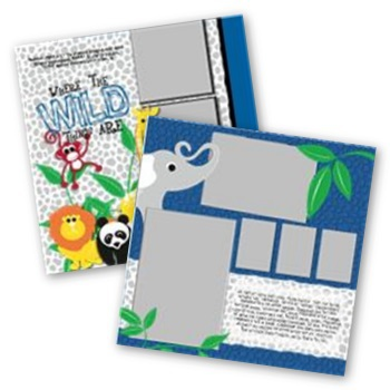 Cheerful Zoo 12x12 Page Print Templates