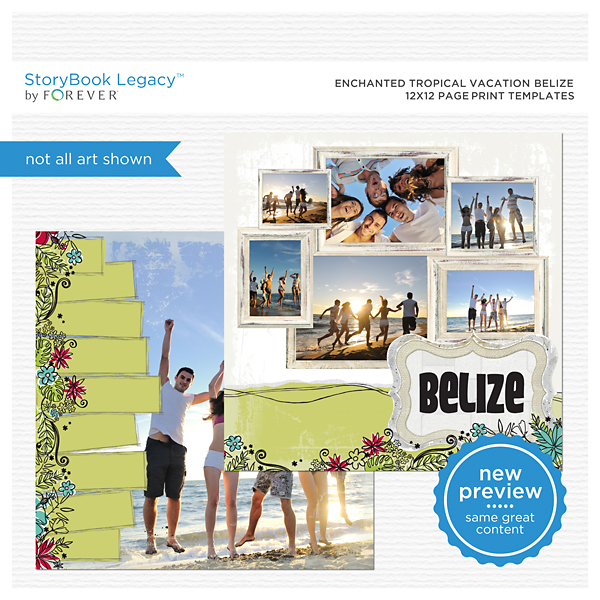 Enchanted Tropical Vacation Belize 12x12 Page Print Templates Digital Art - Digital Scrapbooking Kits