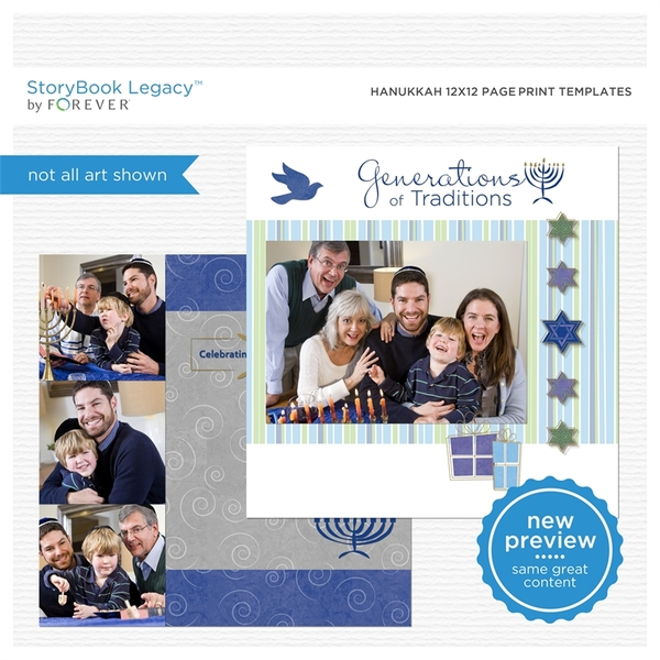 Hanukkah 12x12 Page Print Templates Digital Art - Digital Scrapbooking Kits