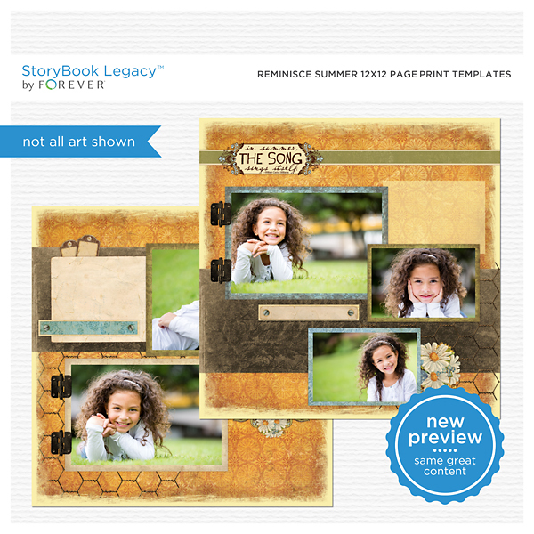 Reminisce Summer 12x12 Page Print Templates