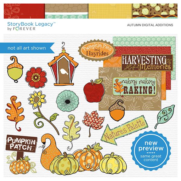 Autumn Digital Additions Digital Art - Digital Scrapbooking Kits