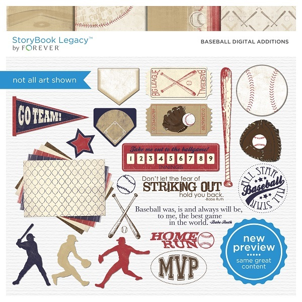 Baseball Digital Additions Digital Art - Digital Scrapbooking Kits