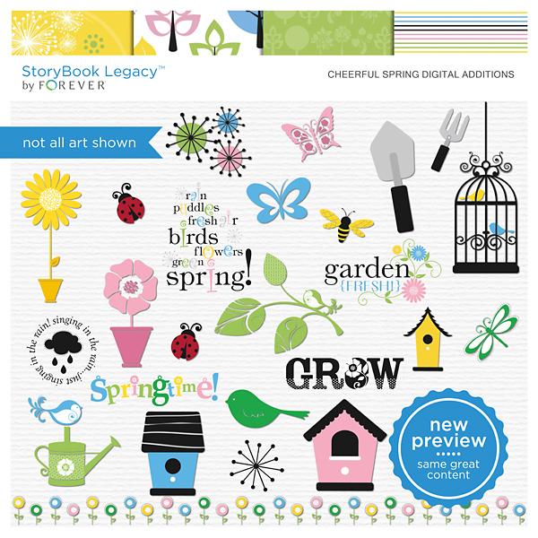 Cheerful Spring Digital Additions Digital Art - Digital Scrapbooking Kits