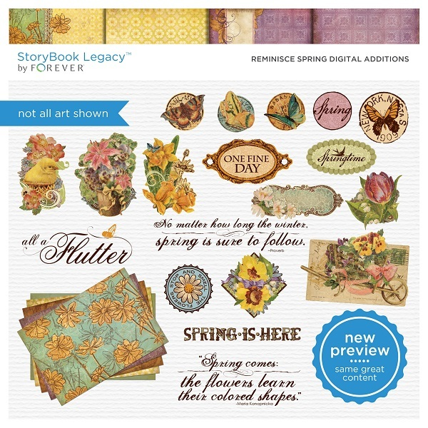 Reminisce Spring Digital Additions Digital Art - Digital Scrapbooking Kits