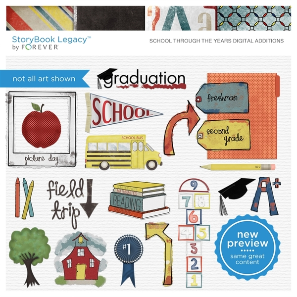 School Through The Years Digital Additions Digital Art - Digital Scrapbooking Kits