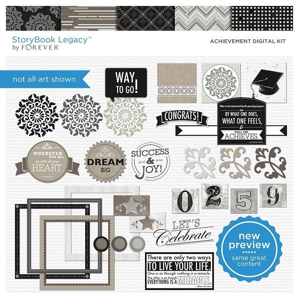 Achievement Digital Kit Digital Art - Digital Scrapbooking Kits
