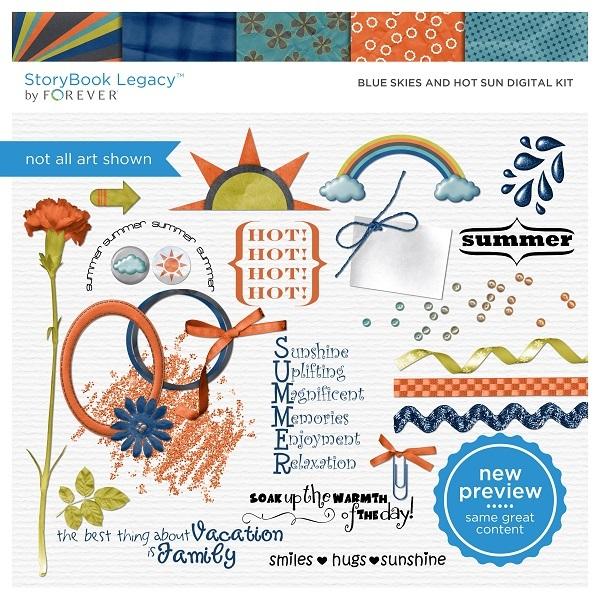 Blue Skies And Hot Sun Digital Kit Digital Art - Digital Scrapbooking Kits
