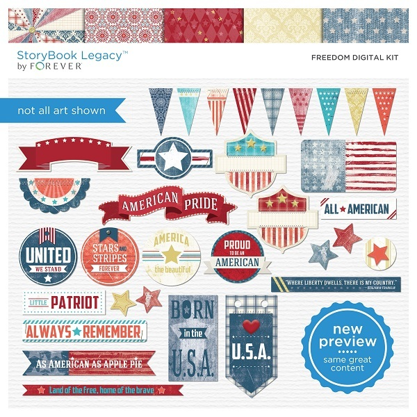 Freedom Digital Kit Digital Art - Digital Scrapbooking Kits