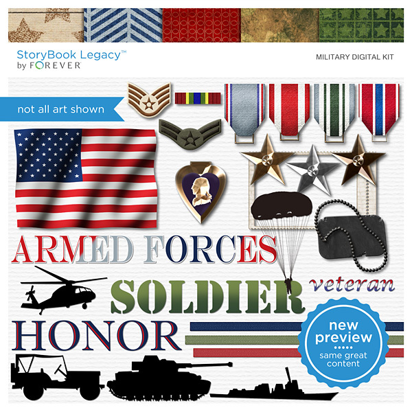 Military Digital Kit Digital Art - Digital Scrapbooking Kits