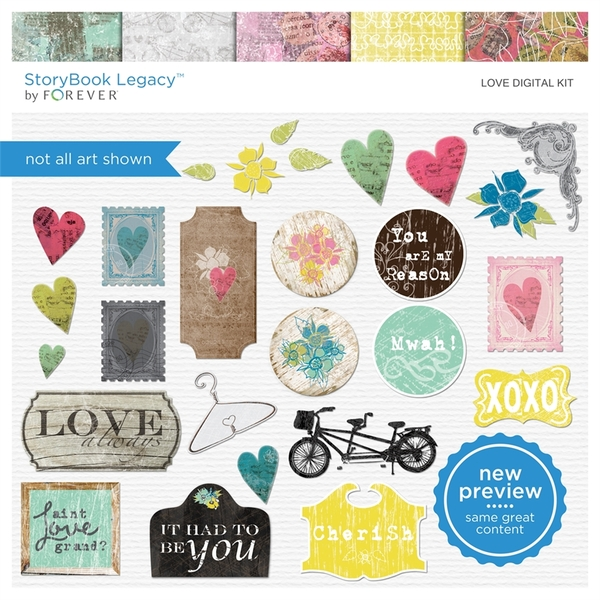 Love Digital Kit Digital Art - Digital Scrapbooking Kits