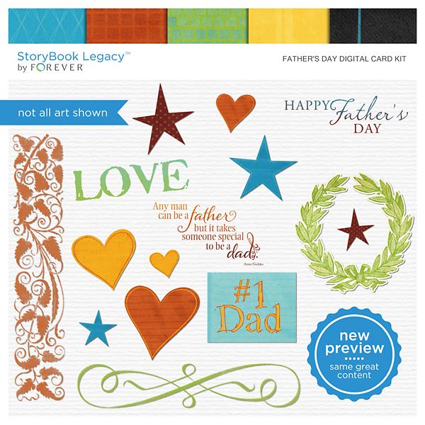 Father's Day Digital Card Kit Digital Art - Digital Scrapbooking Kits