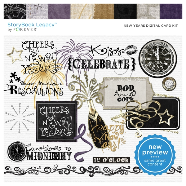 New Years Digital Card Kit Digital Art - Digital Scrapbooking Kits