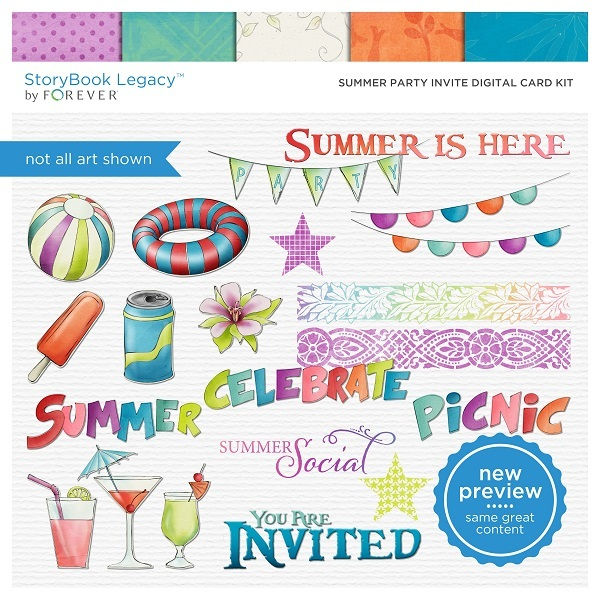 Summer Party Invite Digital Card Kit