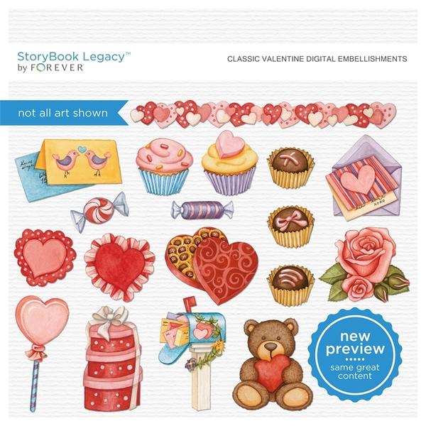 Classic Valentine Digital Embellishments Digital Art - Digital Scrapbooking Kits