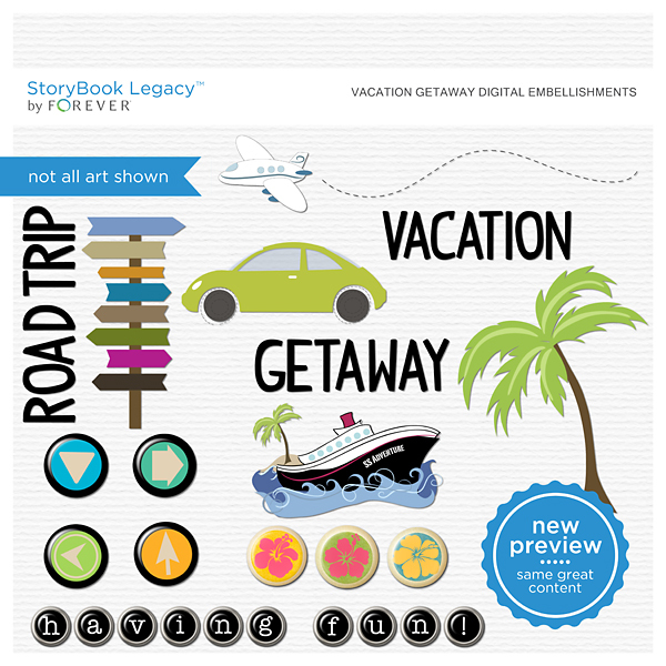 Vacation Getaway Digital Embellishments