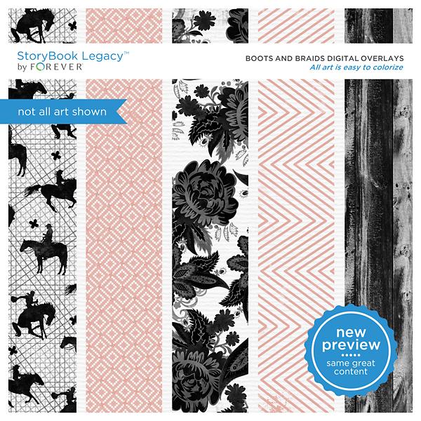 Boots And Braids Digital Overlays Digital Art - Digital Scrapbooking Kits