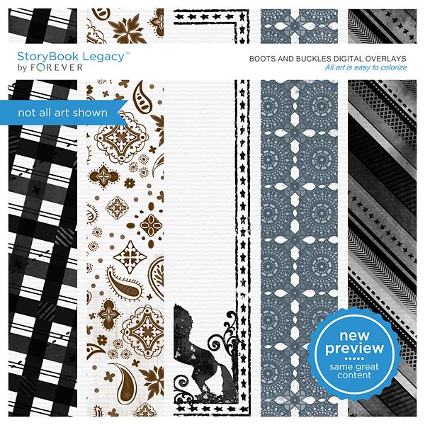 Boots And Buckles Digital Overlays Digital Art - Digital Scrapbooking Kits