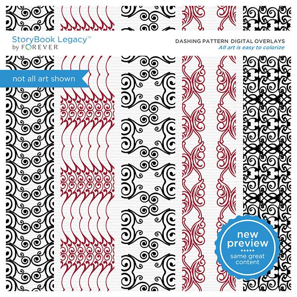 Dashing Pattern Digital Overlays Digital Art - Digital Scrapbooking Kits