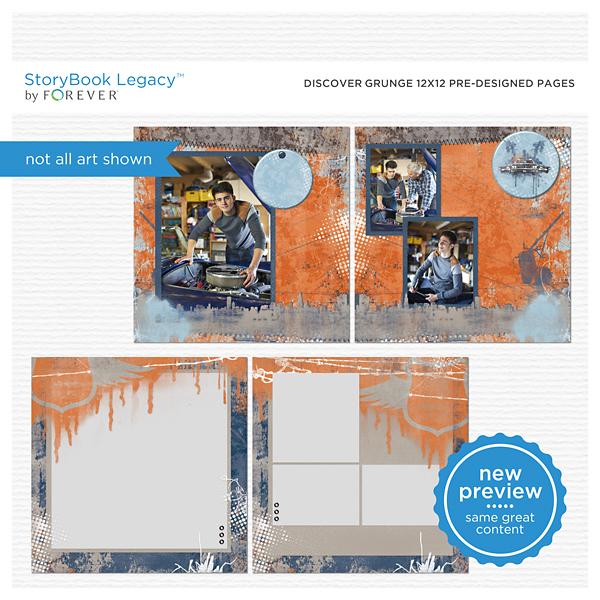 Discover Grunge 12x12 Predesigned Pages Digital Art - Digital Scrapbooking Kits