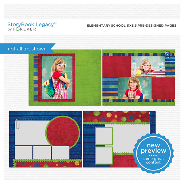 Elementary School 11x8.5 Predesigned Pages Digital Art - Digital Scrapbooking Kits