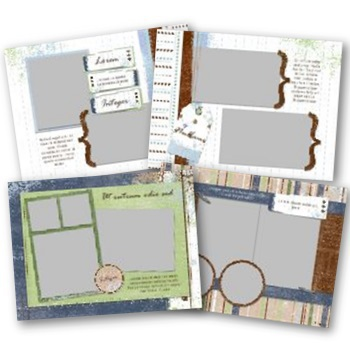Discover 7x5 Predesigned Pages Digital Art - Digital Scrapbooking Kits