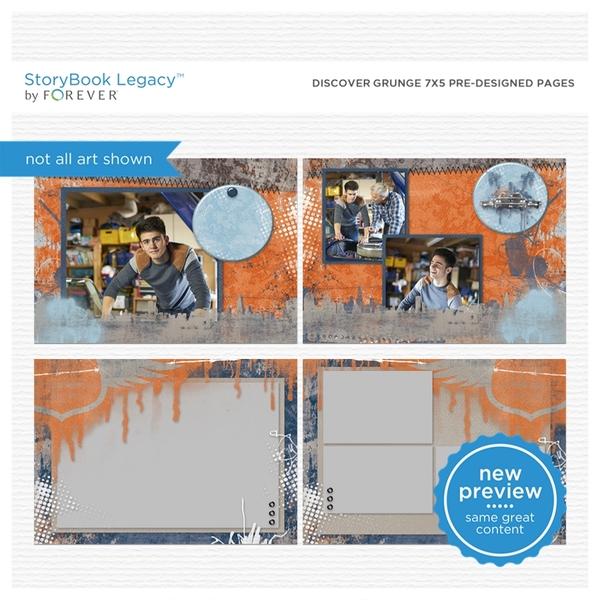 Discover Grunge 7x5 Predesigned Pages Digital Art - Digital Scrapbooking Kits