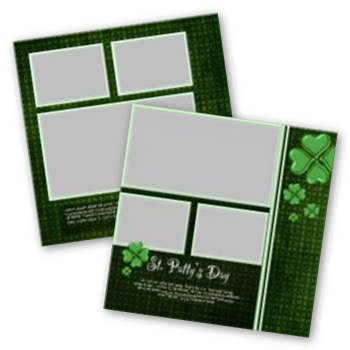 St Patricks Day 12x12 Page Print Templates For Storybook Creator Digital Art - Digital Scrapbooking Kits