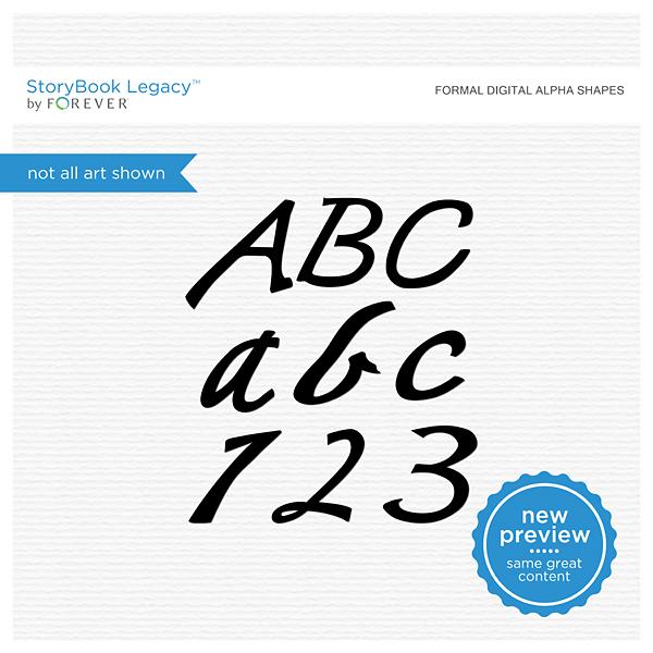 Formal Digital Alpha Shapes Digital Art - Digital Scrapbooking Kits