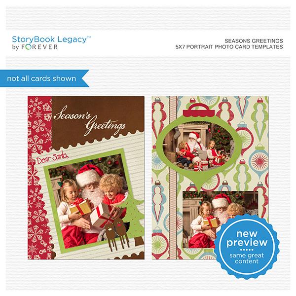 Seasons Greetings 5x7 Portrait Folded Card Templates Digital Art - Digital Scrapbooking Kits