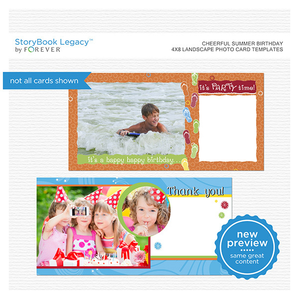 Cheerful Summer Birthday 4x8 Landscape Photo Card Templates Digital Art - Digital Scrapbooking Kits