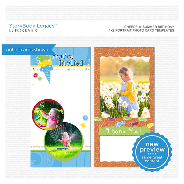 Cheerful Summer Birthday 4x8 Portrait Photo Card Templates Digital Art - Digital Scrapbooking Kits