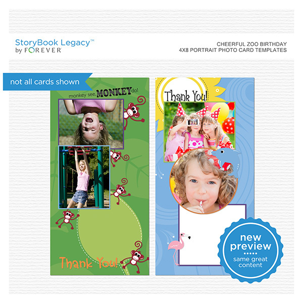 Cheerful Zoo Birthday 4x8 Portrait Photo Card Templates Digital Art - Digital Scrapbooking Kits