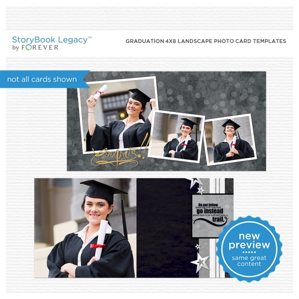 Graduation 4x8 Landscape Photo Card Templates Digital Art - Digital Scrapbooking Kits