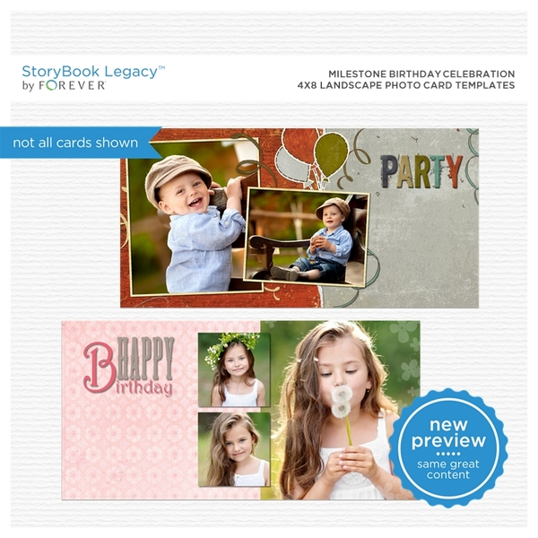 Milestone Birthday Celebration 4x8 Landscape Photo Card Templates