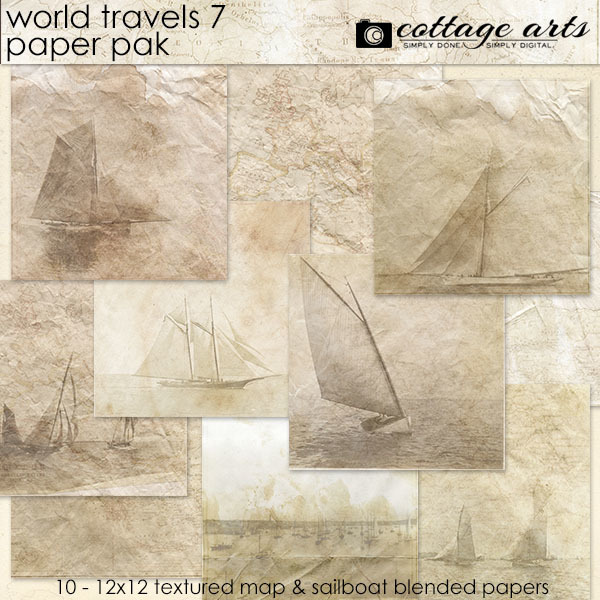 World Travels 7 Paper Pak Digital Art - Digital Scrapbooking Kits