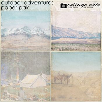 Outdoor Adventures Paper Pak Digital Art - Digital Scrapbooking Kits
