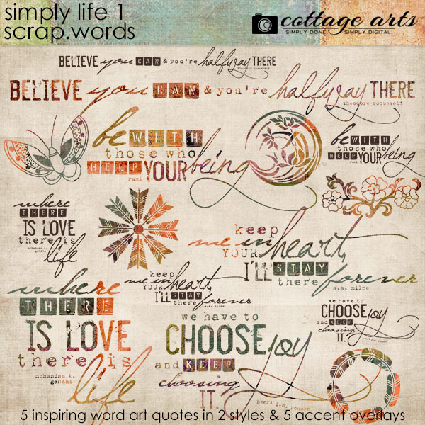 Simply Life 1 Scrap.Words Digital Art - Digital Scrapbooking Kits